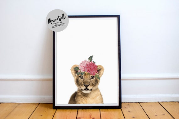 Mala the Lion Cub with floral crown printable