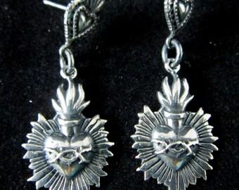 Oaxaca Artist~CARLOS GUTIERREZ~Double Dangle~Flaming Sacred Heart~925~Earrings