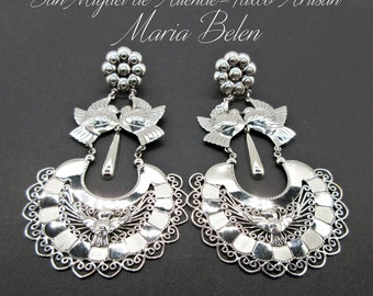 """Maria Belen~Oxidized 925 Traditional Mexican~Dove Arracada Earrings~3-1/2""""- 2 Finishing's Available"""