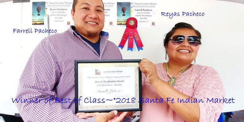 Santa Fe Indian Market 1st Place Award Winners~Kewa Pueblo~FARRELLREYES PACHECO~Hand Cut OliveSpiny Oyster  Shell Heishi Necklace