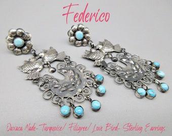 "Federico Jimenez-Traditional Oaxaca -Amore Eterno-Kissing Love Bird/Filigree/Turquoise Wedding Earrings-3"""