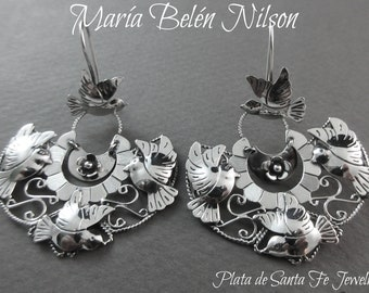 "Maria Belen~ Romantic~Feminine~""Doves in Flight""~ Sterling Filigree Mexican Arracada Earrings~2"""