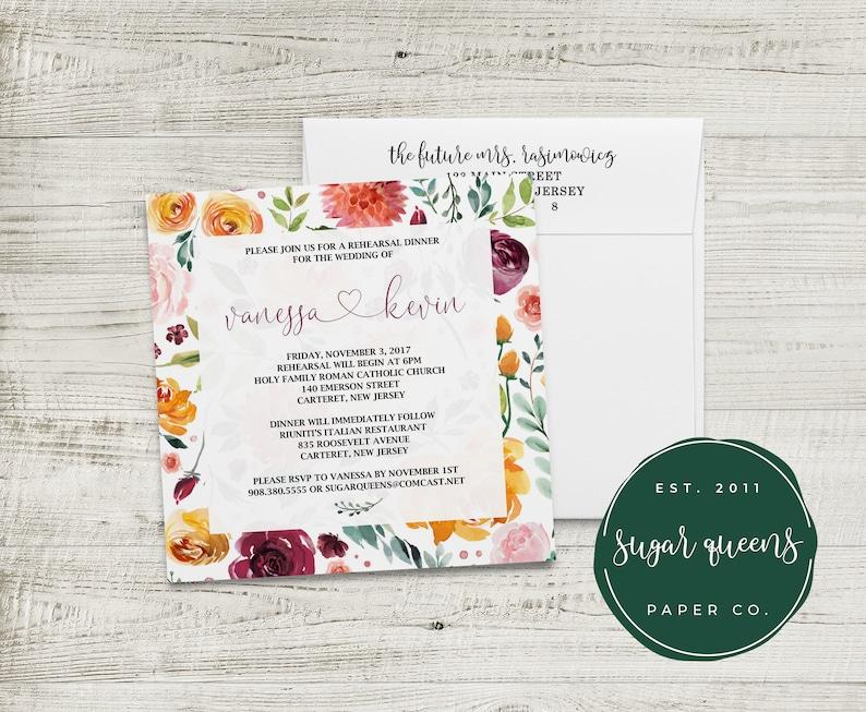 PRINTED Watercolor Marble Wedding Rehearsal Dinner Invitations Blush Pink Blye Gray Romantic Chic Calligraphy Custom Square Envelopes
