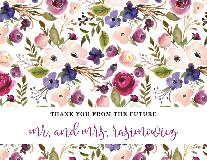 A2 Watercolor Floral Folded Note Cards Thank You Flowers Romantic Calligraphy Cardstock Wedding Bridal Baby Shower Engagement