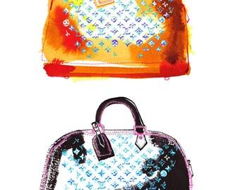 Fashion print Louis Vuitton handbags, Home decoration, Louis Vuitton, Fashion illustration, Wall art, Art print, Handbag, Orange, Black