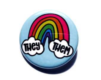 """Rainbow & Clouds Pronoun Button - 1.25"""" Pronoun Button Pride - They/Them He/They She/They She/Her He/Him"""