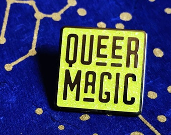 Chartreuse Queer Magic Pin - LGBTQ Pride - Queer Gay Trans Enby Pride - GLITTER