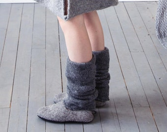 Boiled wool gray leg warmers, felted organic wool leggings, knit leg warmers, knit accessories womens