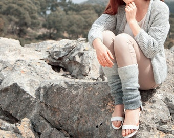 Ombre yoga leg warmers in gray to dark gray natural wool, boiled wool leg warmers