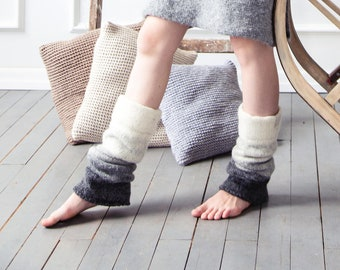 Knit boiled wool legwarmers in ombre colours from white to dark gray/ gray to dark gray
