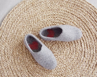 Cute house slippers from grey organic wool with hearts in heels  - valentines gift