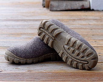 Light brown handmade man woman shoes from cruelty free organic wool