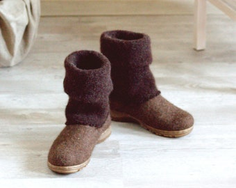 Boiled wool shoes from organic wool with rubber soles and knitted uppers