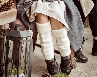 Wool knit leg warmers - felted organic wool leggings - knit accessories womens