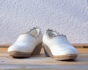 White Felted wedding shoe wool wedge shoes with flax fibers and linen crochet top decor
