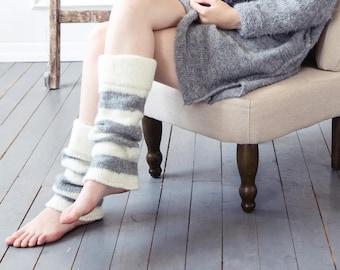 Womens wool leggings from 100% natural undyed wool, long legwarmers