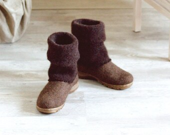 READY to SHIP Boiled wool shoes from organic wool with rubber soles and knitted uppers in size EU38/us womens 7.5