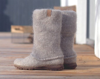 READY to SHIP in size EU39/US women's 8.5 Felted boots natural beige brown - felted wool boot valenki - wool boots - felt boot