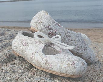 Wool ballet flats with organic cotton, comfortable flats, beige flats