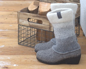 READY to SHIP in size EU 38/us women's 7.5 Felted wedge heel boots, tall winter boots, two tone boots