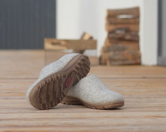 Beige felt wool shoes, felted boiled wool clogs