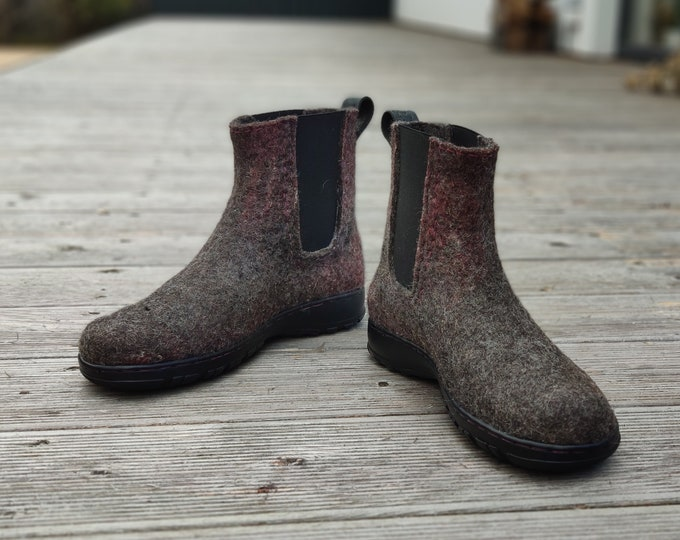 Featured listing image: Felted chelsea boots with rubber soles and reinforced toe and counter, upcycled leather lined insole