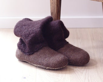 READY to SHIP Brown felt slipper for woman in size EU43/ us womans 10.5, boiled wool ugg boot woman, felted booties - valenki