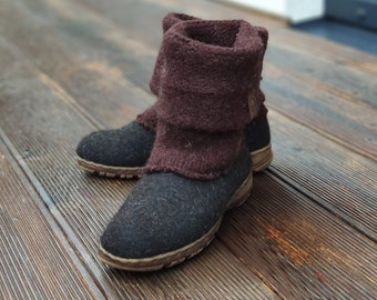 Handmade Boiled wool shoes from organic wool with rubber soles and knitted uppers
