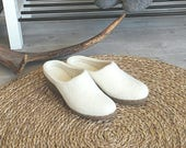 Comfy heels in white wool - felted minimalist shoes - white wool bridal wedges