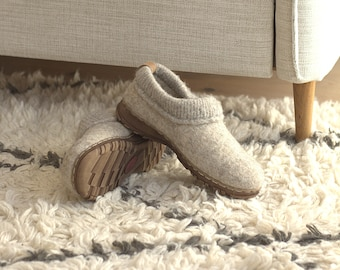Beige ethical organic shoes from natural eco wool