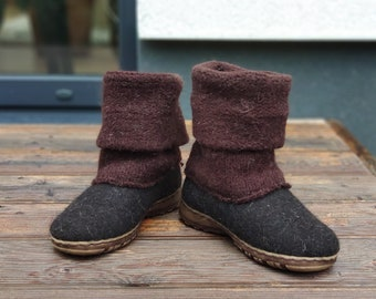READY to SHIP in size EU38/us women's 7.5 Boiled wool shoes from organic wool with rubber soles and knitted uppers