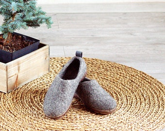 Felted wool clogs with rubber soles - natural gray organic wool booties with rubber soles