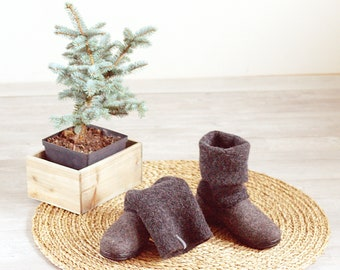 READY to SHIP in size EU40/us women's 9 Boiled wool shoes from organic wool with rubber soles and knitted uppers in dark gray