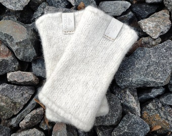 READY to SHIP white 100% Wool Wrist Warmers Hand Knitted boiled wool