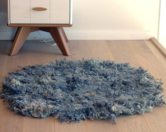 Gray wool rug for your bath or nursery from organic sheep wool locks, wabi sabi decor