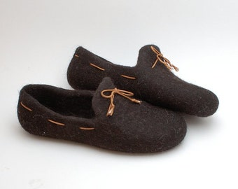 READY to SHIP size EU 42/ us women 10 Felted wool slipper loafers coffee brown with laces