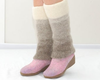 Knit leg warmers from natural wool in beige ombre color  -  Boot socks - women leg warmers - boot cuffs - socks for boots