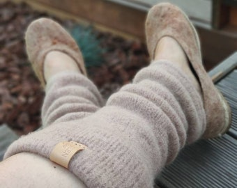 Boiled wool dust pink leg warmers dyed naturally with avocado stones, felted organic wool leggings, knit leg warmers