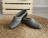 Grey felted low wedge shoes with elegant gray ribbon