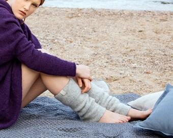Boiled wool light gray leg warmers, felted organic wool leggings, knit leg warmers, knit accessories womens