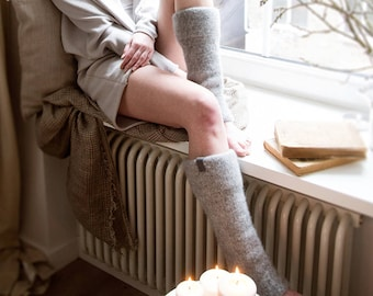 READY TO SHIP Boiled wool gray leg warmers, felted organic wool leggings, knit leg warmers, knit accessories womens