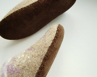 Natural upcycled leather soles handmade for my felted clogs - beige brown black