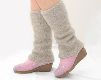 Beige Leg Warmers - Leg Covers - Knit Legwarmers - Long Leggings - Leg Warmers