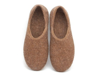 Children felted organic wool clogs just brown - eco-friendly unisex slippers for kids - felted slippers - handmade felt wool house shoes