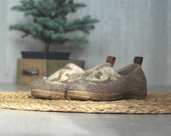 READY to SHIP in size EU37/us women's 6.5 Felted outdoor footwear, wild decor ethical shoes