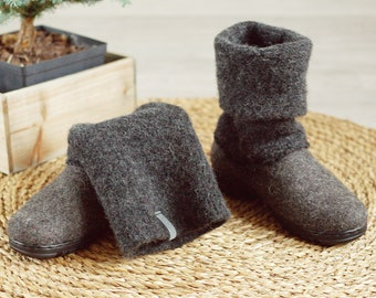 READY to SHiP dark gray Boiled wool shoes from organic wool with rubber soles and knitted uppers in size EU39, 41/ us women's 8.5, 9.5