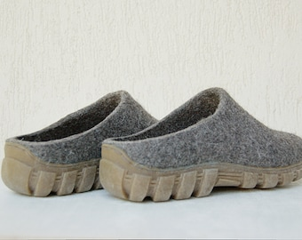 READY to SHIP size EU43/ us men 9 Wool mules for men in dark gray