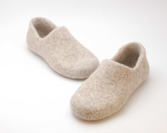 READY to SHIP Felted wool clogs just beige in size EU36/us women's 6