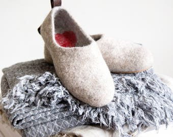 READY to SHIP Valenki houseshoes with hearts Love clogs,  beige wet felted slippers in Eu size 38/us women's 8