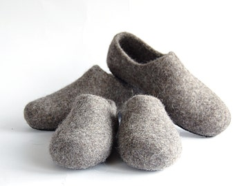 Set of felt slippers for your imagination - children and grownup woolen clogs - handmade natural organic wool slippers - mother and daughter